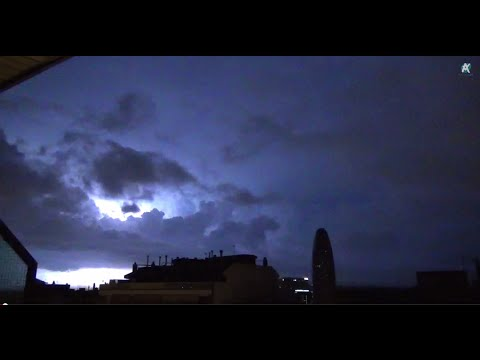 Thunderstorm and Rain Sounds on a tin roof in a lightning st