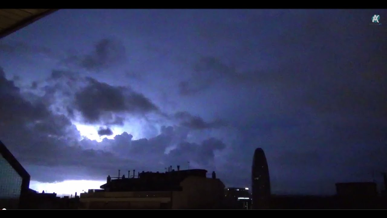 thunderstorm and rain sounds on a tin roof in a lightning storm