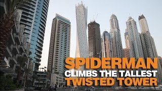 Spiderman Alain Robert climbs Dubai Marina Twisted Tower