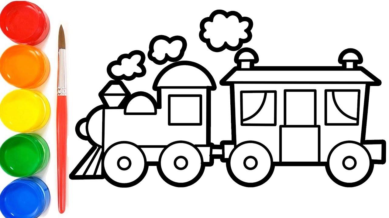 Cara Menggambar Kereta Api | Belajar Mewarnai Gambar