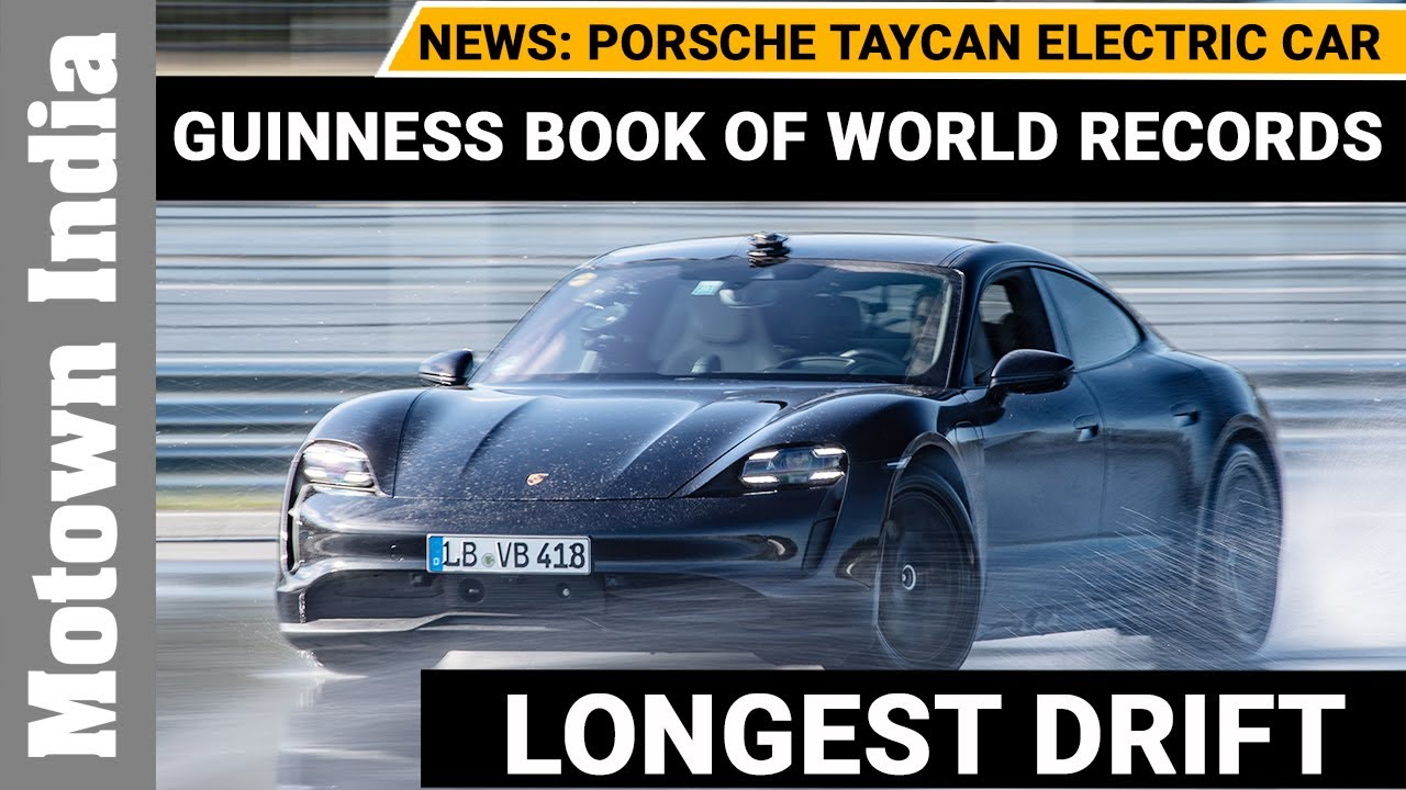 Porsche Taycan electric car in Guinness  World Records for drifting | Motown India