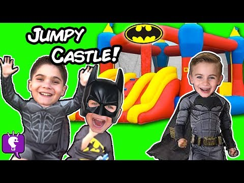 Worlds BIGGEST Jumpy Castle SURPRISE Egg! Batman Bootcamp Imaginext Toys + Blind Boxes HobbyKidsTV