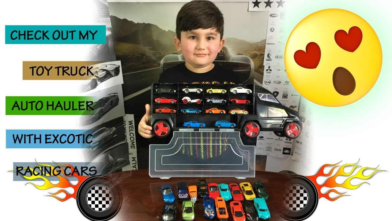 Toy Car Transport Trailer Exotic Toy Cars Truck Unboxing