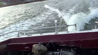 5.5m motor boat with toyota supra turbo engine 240hp first test on water.