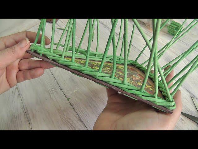 Двусторонняя веревочка из четырех трубочек. Плетение из газет