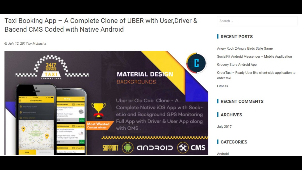 Taxi Booking App – A Complete Clone of UBER with User,Driver & Bacend CMS  Coded with Native Android