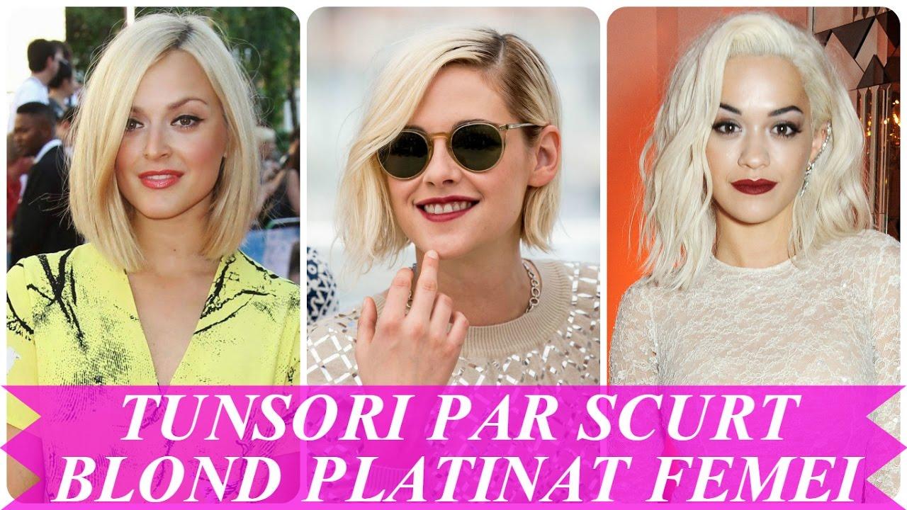 Tunsori Par Scurt Blond Platinat Femei