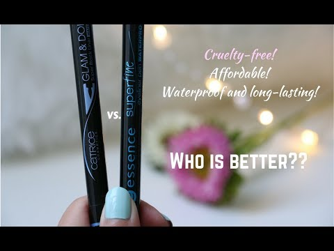 Quick review+demo: Catrice glam&doll super black eyeliner VS. Essence super fine eyeliner pen!