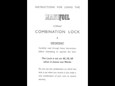 Instruction Manual For Chubb MK4 Manifoil 3 Wheel Combination Lock