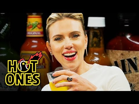 Scarlett Johansson Tries To Not Spoil Avengers While Eating Spicy Wings   Hot Ones