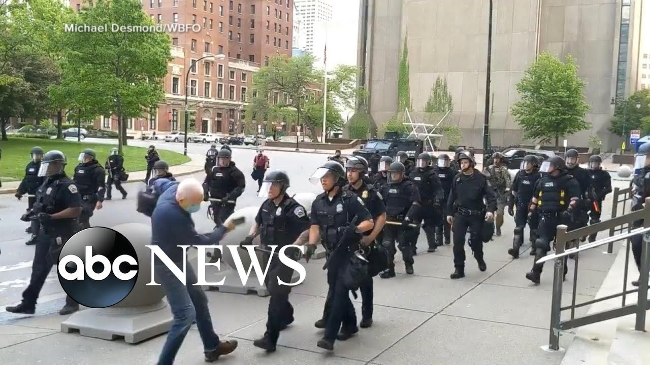 Police caught on camera pushing man to ground during Buffalo protest l ABC News