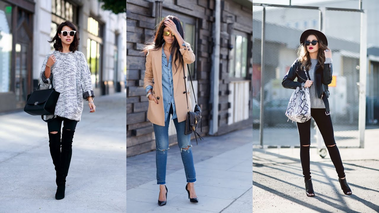 18 Street Style Outfit Ideas With Ripped Jeans Youtube