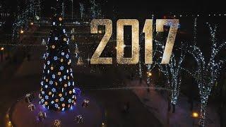 Happy New Year 2017! Night Moscow from drone Phantom 4 aerial. С новым годом! Ночная Москва и Химки