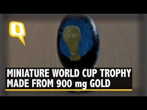Coimbatore Artist Creates Miniature Football World Cup Trophy