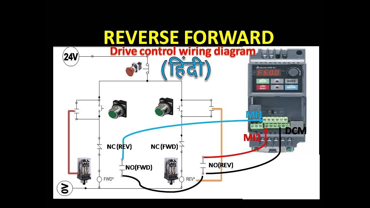 🔴VFD forward and reverse wiring with programming logic | Relay | drive | -  YouTubeYouTube