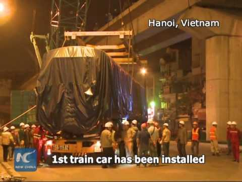 Chinese-made train car installed on Vietnam's first light rail line