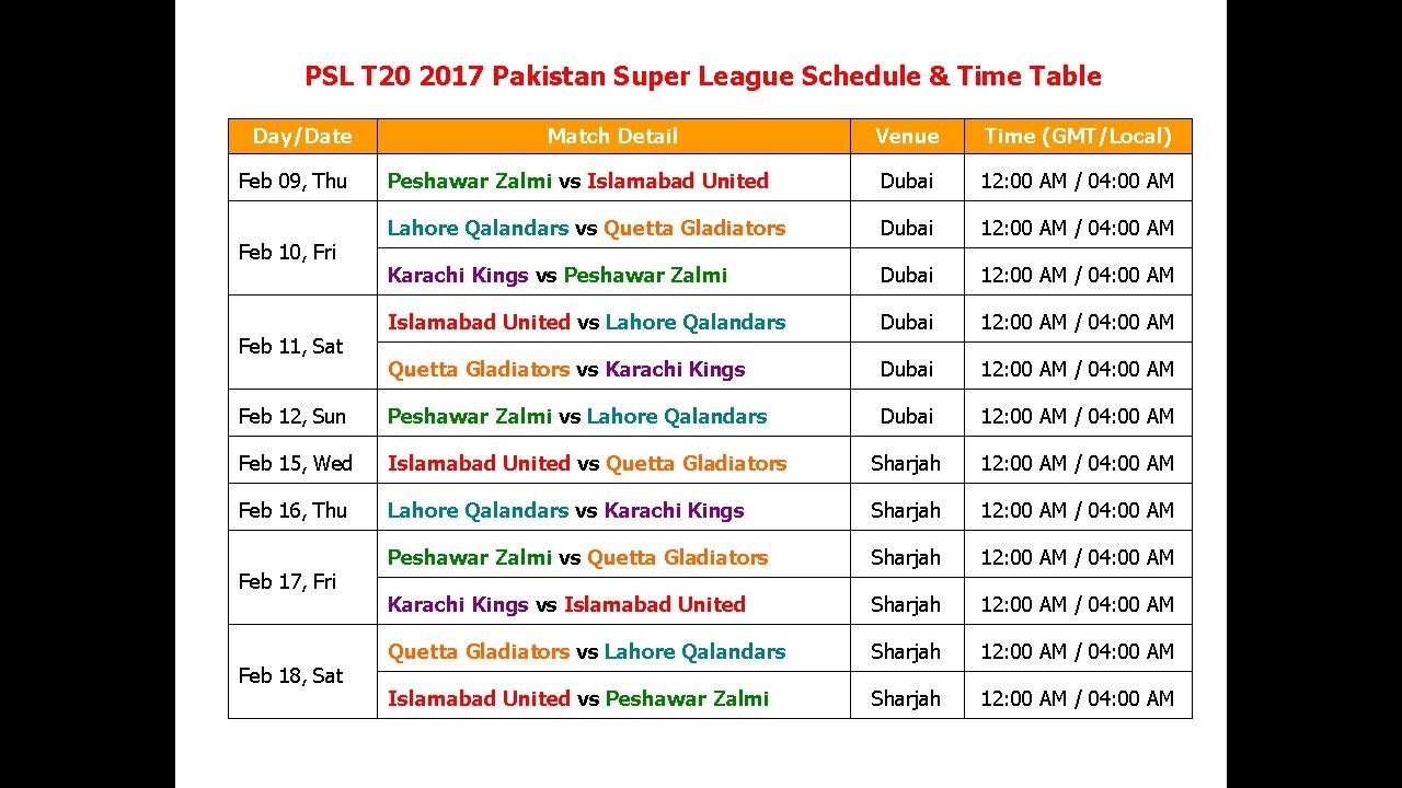 PSL 2017 Pakistan Super League Schedule & Time Table - YouTube