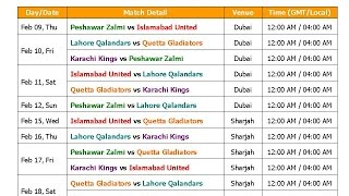 PSL 2017 Pakistan Super League Schedule & Time Table