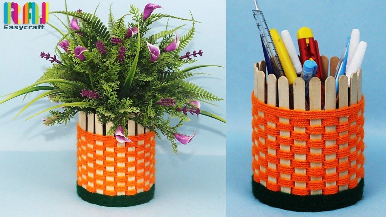 YouTube & DIY Flower vase || new ice cream stick craft || handmade flower pot | DIY pen holder