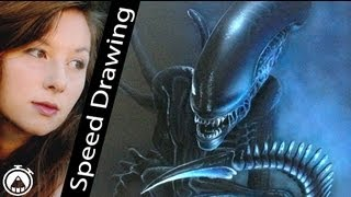 Wow! ALIEN Speed Drawing with pencil and AIRBRUSH! Amazing timelapse by Ambra Arioli