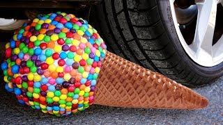 Crushing Crunchy & Soft Things by Car! - EXPERIMENT: CAR vs M&M ICECREAM