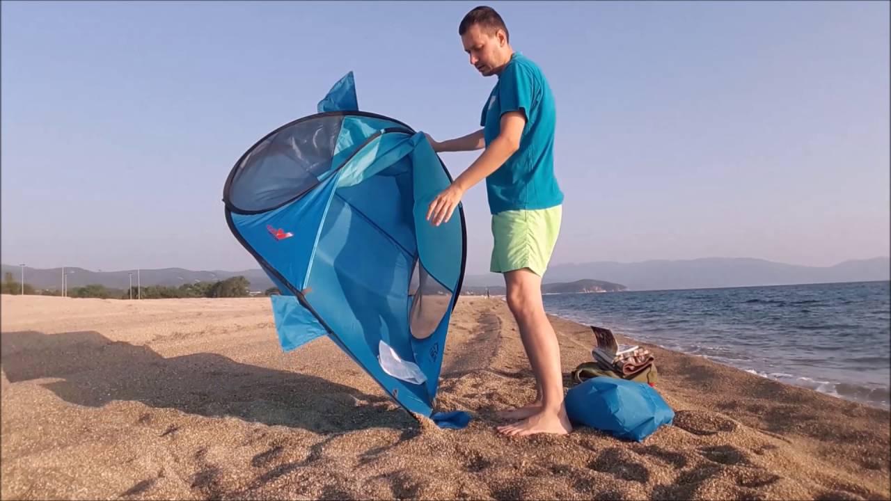 new arrival 565e8 e5033 How to fold up a pop up BEACH TENT (sun shelter) McKinley Bora / Abbau pop  up strandmuschel