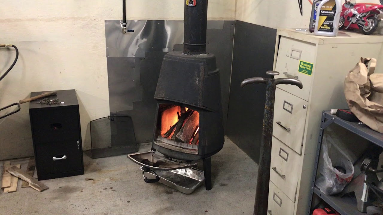 Garage Wood Stove Finally In Use Youtube