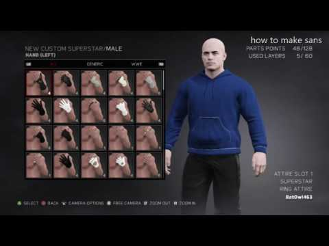 wwe2k17 how to make sans from undertale