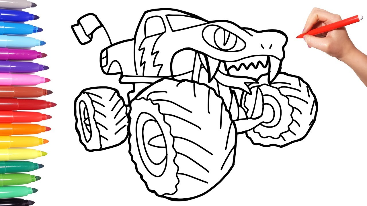 New Snake Monster Truck Car Coloring Pages For Kids How To Draw Car Coloring Book For Chidren Youtube