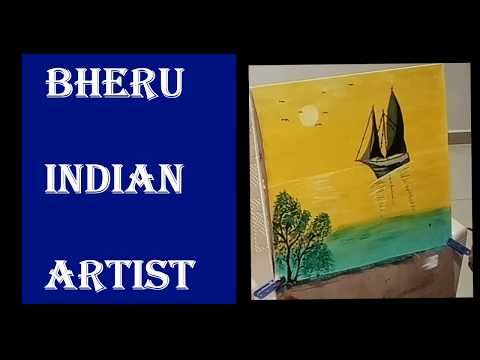 Easy Landscape Painting  for Beginners | acrylic painting on canvas | bheru indian artist.Day-2