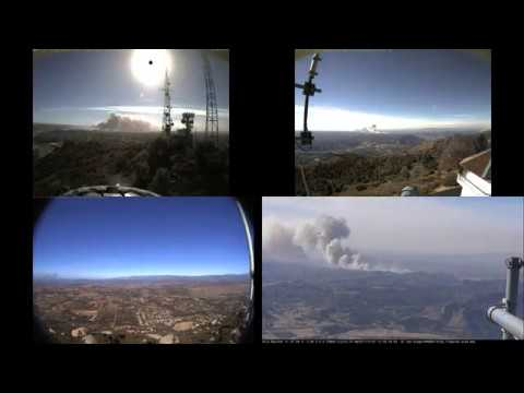 20171207 Lilac Fire in San Diego County multi-camera time lapse animation