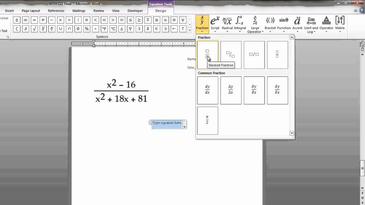 Writing Math Equations in Microsoft Word