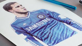 Eden Hazard Pen Drawing - Chelsea F.C. - DeMoose Art