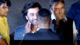Sanjay Dutt PULLS Ranbir Kapoor's CHEEKS as they meet at Bhoomi Trailer Launch