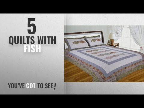 Top 10 Quilts With Fish [2018]: J&J Bedding Fish Pattern Handcrafted Quilt, Full/Queen