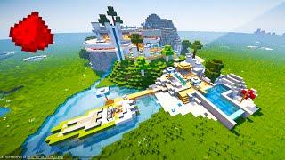 REDSTONE MOUNTAIN HOUSE!! - Minecraft Maps (Redstone Modern House)