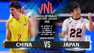 22.06.2019 China vs Japan 0:3. Match Highlights | Men's VNL 2019