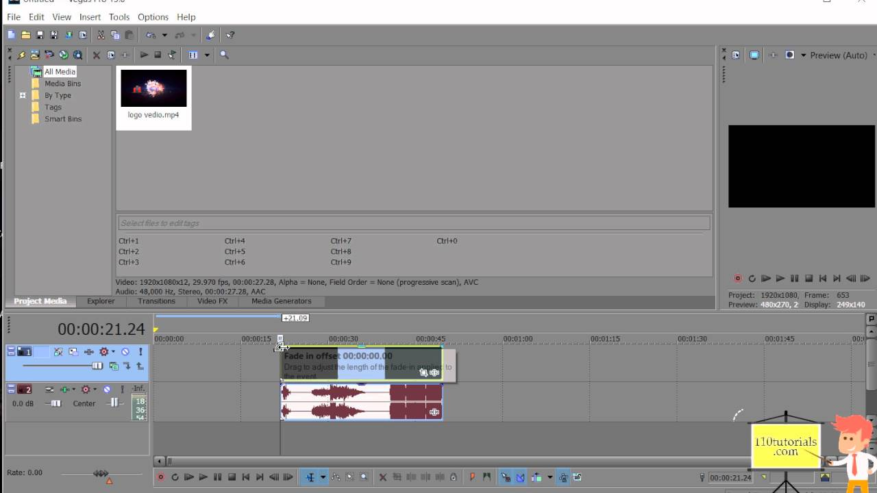 Sony Vega Pro 13 How To Use Fade In And Fade Out Effect In Sony Vegas Pro 13