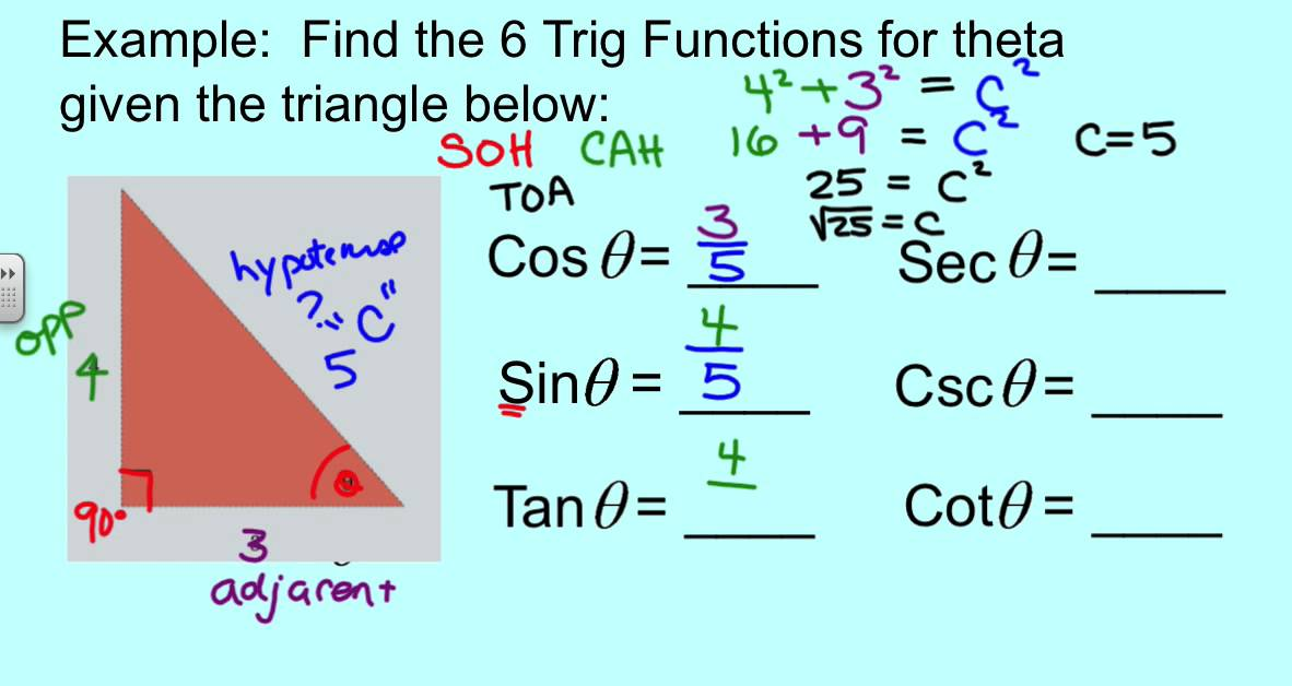 Solving the 6 Trig Functions with Right Triangle Trig - YouTube