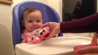 4 month old baby first time trying solid food