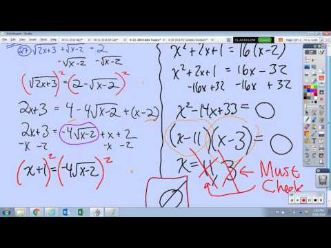 Complex Number Sum Warm Up, Radical Equation Problems, Quadratic in Form Equations