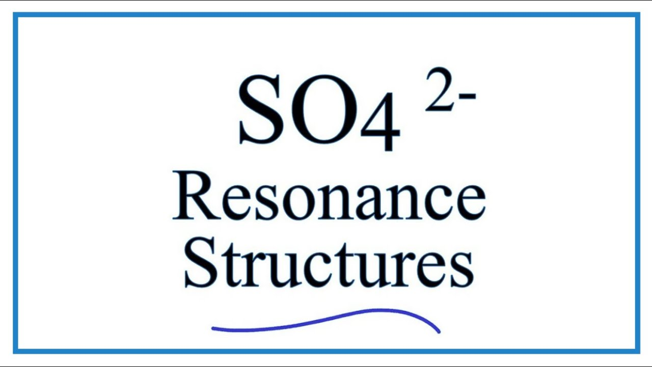 hight resolution of resonance structures for so4 2 sulfate ion