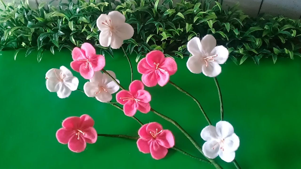 Cara Paling Mudah Membuat Bunga Sakura Dari Kain Flanel Youtube