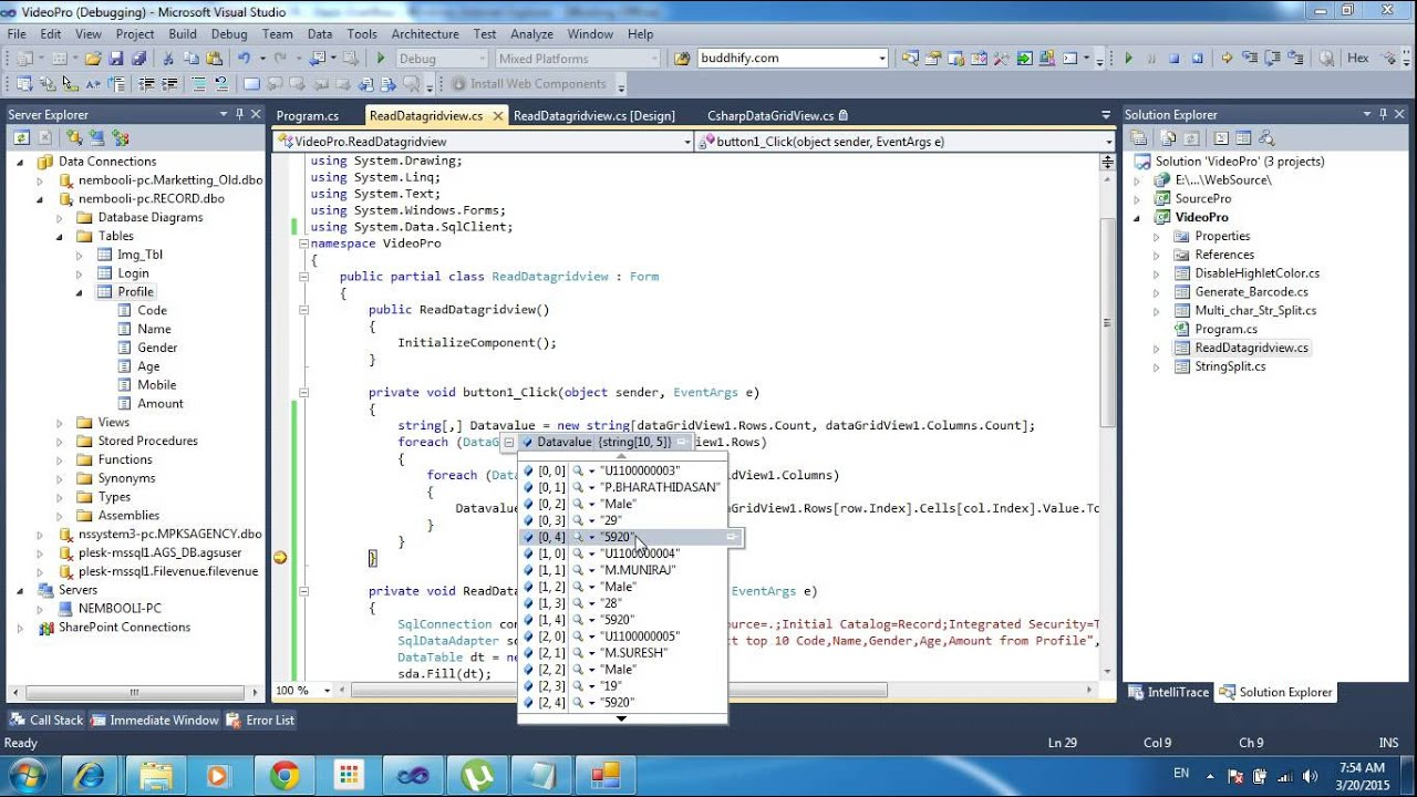 Reading data from DataGridView to array and listview in C#