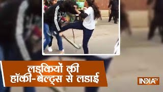 Gangwar Of Girls On Streets Of Muzaffarnagar Using Belts And Hockey Sticks