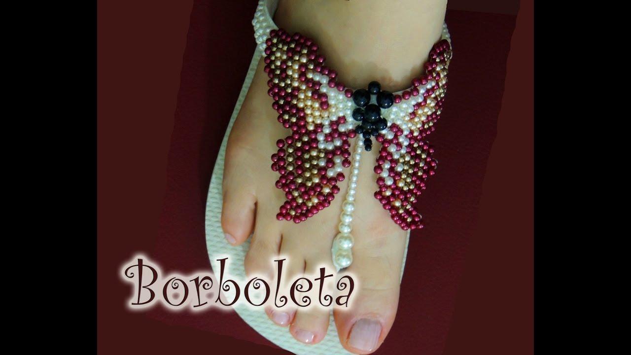 bbdd07240 Chinelo decorado: borboleta de pérolas (PARTE 1) - YouTube
