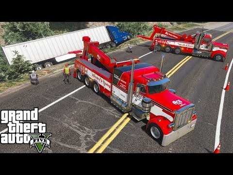 GTA 5 Real Life Mod #160 Two Heavy Duty Tow Truck Wreckers Flips A Overturned Semi Truck & Trailer