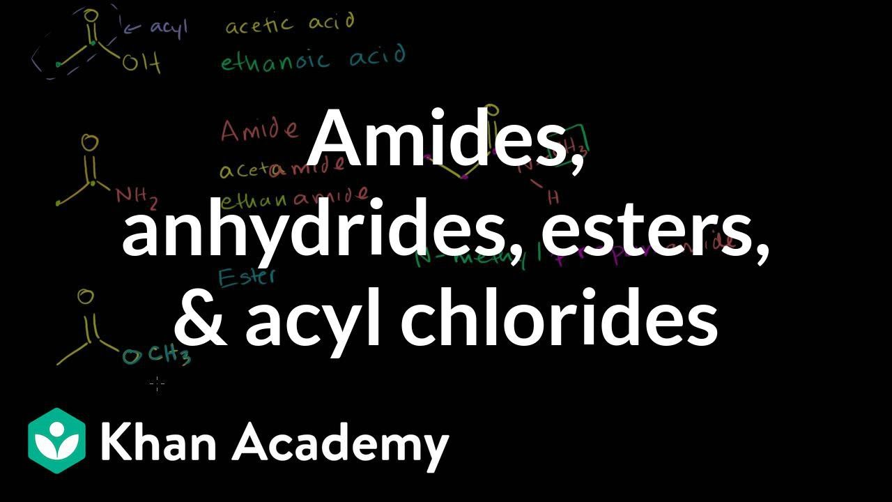 Amides, anhydrides, esters, and acyl chlorides (video