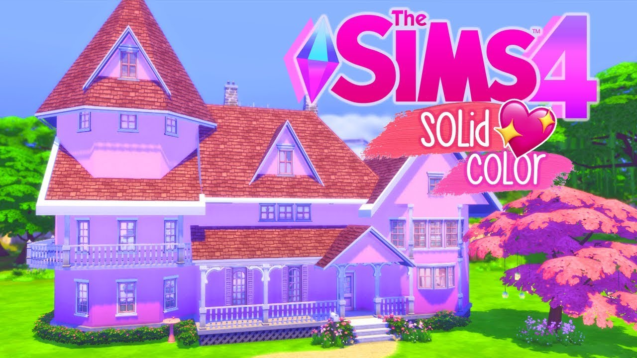 THE SIMS 4- PERFECTLY PINK HOUSE| SOLID COLOR CHALLENGE - YouTube