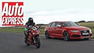 Audi RS6 vs Ducati 1199 Panigale R - car vs bike track battle
